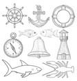 nautical symbols hand drawn sketch vector image