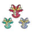 traditional venetian mask set vector image