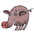 a happy cartoon pig covered in mud vector image vector image