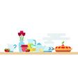 afternoon tea party with biscuit hot tea pot jam vector image vector image