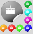 Birthday cake icon sign Set of eight multi colored vector image vector image