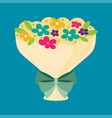 bouquet of flower tied with ribbon bow flat vector image vector image