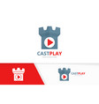 button play and castle logo combination vector image vector image