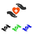 cardiology care hands flat icon vector image vector image