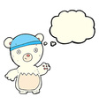 cartoon polar bear wearing hat with thought bubble vector image vector image