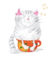 Cat on a chamber-pot characters Cartoon vector image