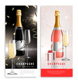 champagne vertical realistic banner set vector image
