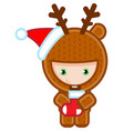 christmas deer whis present isolated on white vector image vector image