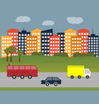 city-and-cars vector image vector image