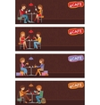 Couples of people in cafe vector image vector image