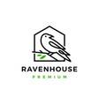 crow raven bird leaf line logo icon vector image vector image
