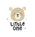 cute bear head and hand lettering text vector image vector image
