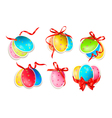Decorative easter eggsEaster cards with red bow vector image vector image