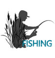 fisherman with fishing rod and reed vector image vector image