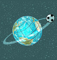 football soccer ball planet earth championship vector image vector image