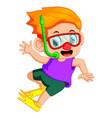 funny snorkeling boy vector image