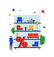 furniture sale shelves with furniture for sale vector image