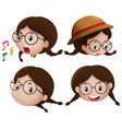 girl with happy expression on face vector image vector image