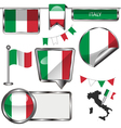 Glossy icons with Italian flag vector image vector image