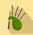 green bagpipes icon flat style vector image vector image