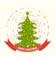 Green stylized Christmas tree New Year greeting vector image vector image