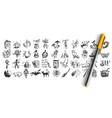 halloween doodle set vector image vector image