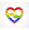 Heart shape with gay flag and two hands vector image vector image