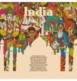 india cultural symbols patterns poster vector image vector image