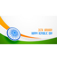 indian flag in wave style for republic day vector image