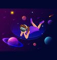 isometric virtual reality concept a girl in vector image vector image
