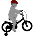 little boy riding bicycle high quality silhouette vector image