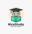 logo nice study cute cartoon vector image