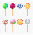 lollipops realistic isolated on transparent vector image vector image