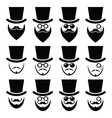 Man with hat with beard and glasses icons set vector image vector image