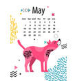 may calendar 2018 with american hairless terrier vector image
