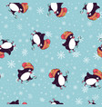 merry christmas seamless pattern with penguinsin vector image