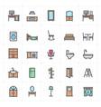 mini icon set - furniture full color icon vector image