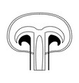 mushroom icon in black dotted silhouette on white vector image