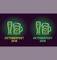 neon banner of oktoberfest holiday in green vector image