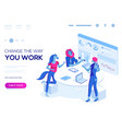people work in a team and interact vector image vector image
