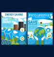 posters for green energy or ecology saving vector image vector image