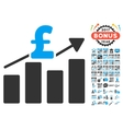 Pound Business Chart Icon With 2017 Year Bonus vector image vector image