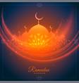 ramadan kareem glowing wishes card with mosque
