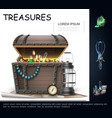 realistic sea treasures concept vector image
