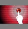 red technology background touch lock button vector image