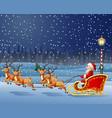 santa claus boarded a deer sled background scener vector image vector image