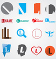 Set of alphabet symbols of letter L vector image vector image