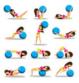 set of exercise ball workouts design vector image