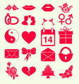 set valentines day holiday icon monochrome red vector image