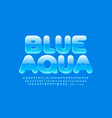 sign blue aqua with glossy alphabet vector image